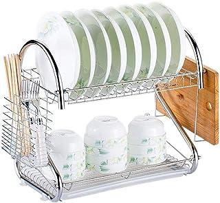 rangement et organisation de cuisine 2-Tier vaisselle Fournitures de cuisine Rack en acier inoxydable Support de rangement...