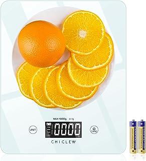 CHICLEW Balance Cuisine Electronique, 10kg/1g Balance Alimentaire de Precision avec Verre Trempé Ultra Mince , Tactile Écr...