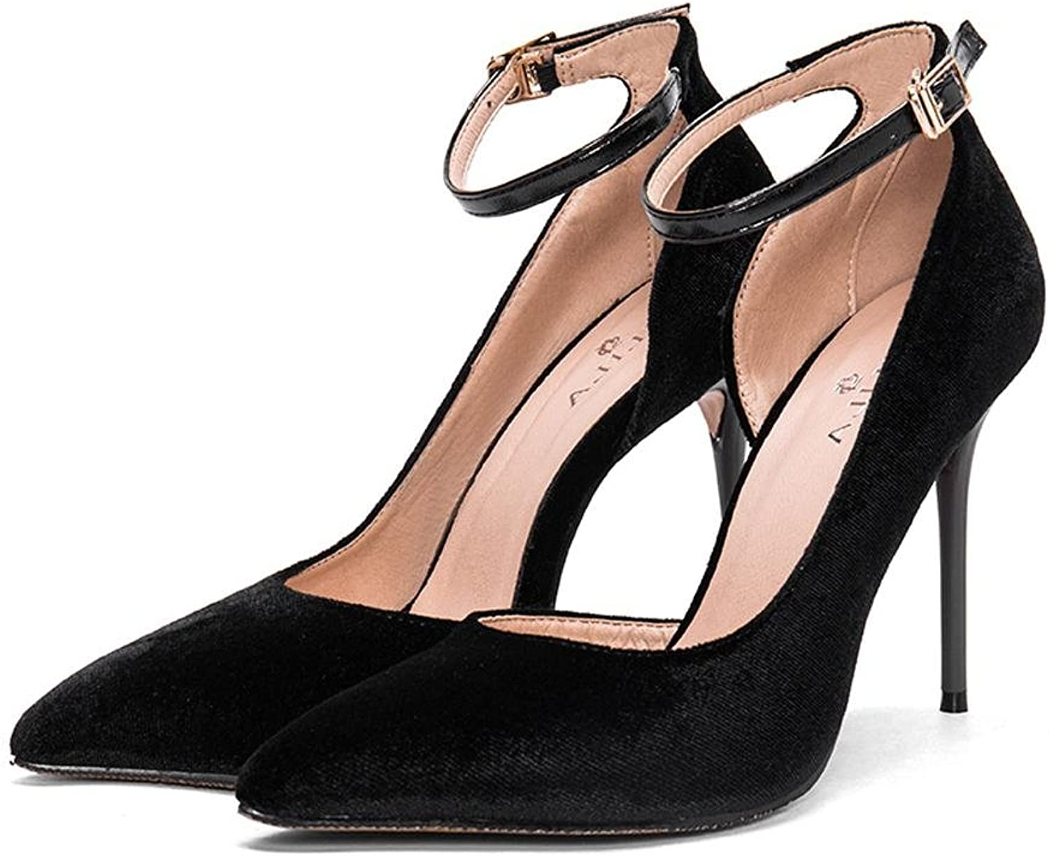 L@YC Women High Heels Side Empty Pointed Sandals Summer Fine with a Word Buckle Black Suede shoes Ladies