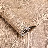 2 rollos de revestimiento de suelo de PVC, aprox. 3 ㎡/rollo de lámina de madera autoadhesiva, aspecto de madera, grosor 0,35 mm, para suelo, pared, muebles (marrón)