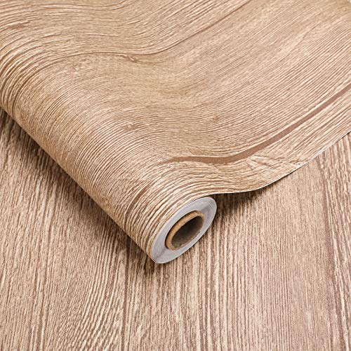 2 Rollen PVC-Bodenbelag Bodenschutz Belag ca.3㎡/Rolle Holz Folie selbstklebend Holzoptik Klebefolie verdicke Aufkleber Stärke 0,35mm für Boden Wand Möbel (Holz-Braun)