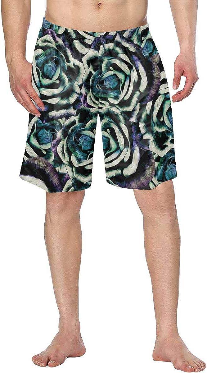 InterestPrint Men's Swim Trunks Beach Shorts with Pockets and Drawcord Romantic Christmas Pattern