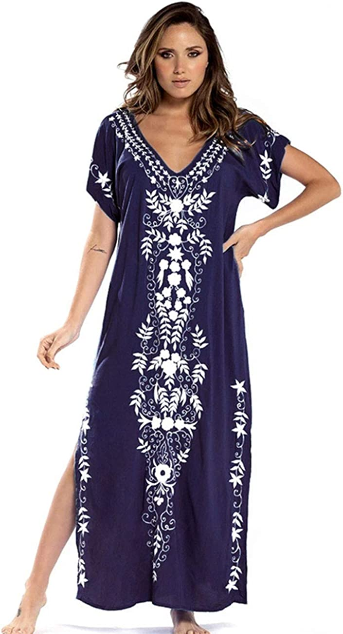 EDOLYNSA Women's Embroidered Kaftan Plus Size Beach Dress Solid Color Swimsuit Cover up