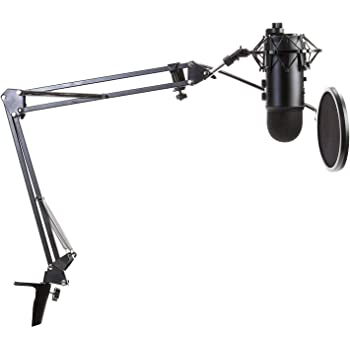 Blue Yeti Microphone (Blackout) with Knox Boom Arm Stand, Pop Filter and Shock Mount Bundle