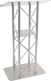 Displays2go 25-Inch Truss Floor Lectern with Interior Shelf Aluminum and Steel - Silver (LCT4PSTPSL)