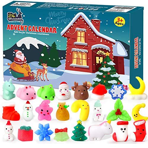 FLY2SKY Advent Calendar 2020 Christmas Countdown Calendar 24Pcs Mochi Squichy Toys Cute Animals Squichies Christmas Party Favors for Girls Boys Santas Snowman Unic0rn Dinos