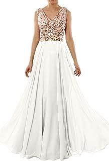Women V Neck Sequin Wedding Formal Evening Gown Long Bridesmaid Dress