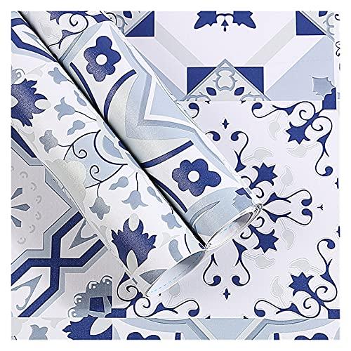 GYY Casa Pelada Y Palo Wallpaper Marroquí Azulejo Impermeable Adhesivo Contacto Papel Backsplash Extraíble Azulejo Azulejo Azulejo (Color : Blue Tile, Size : 3mx45cm)
