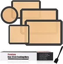 مجموعة من 5 قطع من حصائر الخبز المصنوعة من السيليكون غير قابلة للالتصاق وقابلة لإعادة الاستخدام ومفارش من السيليكون للماكر...