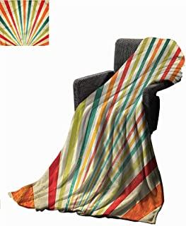 Anzhutwelve Bed Blankets Vintage,Grungy Multicolor Starburst Blanket for Bed Couch W50 x L30 inch