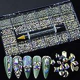 9340Pcs Mixed Crystal Nail Art Rhinestones Diamonds 14 Style Nail Crystal Flatback Multi Sizes 3D Decorations Rhinestone with Picking Pen(700 Pcs Crystals+8640 Pcs Rhinestones,AB)