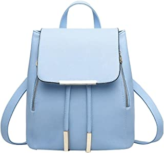 Tinksky Shoulder Bag PU Leather Women Girls Ladies Backpack Travel Bag Christmas Birthday Gift for women girls (Light Blue)