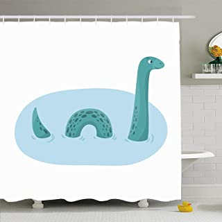Ahawoso Shower Curtain for Bathroom 66x72 Green Beast Loch Ness Monster Animals Wildlife Dragon Red Bitmap Country Myth Creature Cute Dinosaur Waterproof Polyester Fabric Bath Decor Set with Hooks