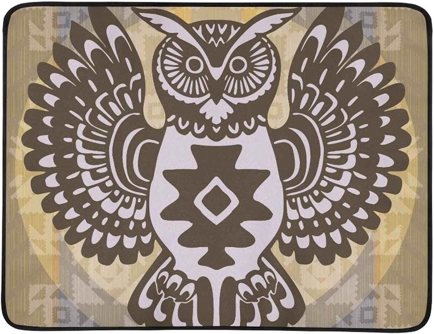 A Decorative Owl at an Ornamental Origin Pattern Portable and Foldable Blanket Mat 60x78 Inch Handy Mat for Camping Picnic Beach Indoor Outdoor Travel