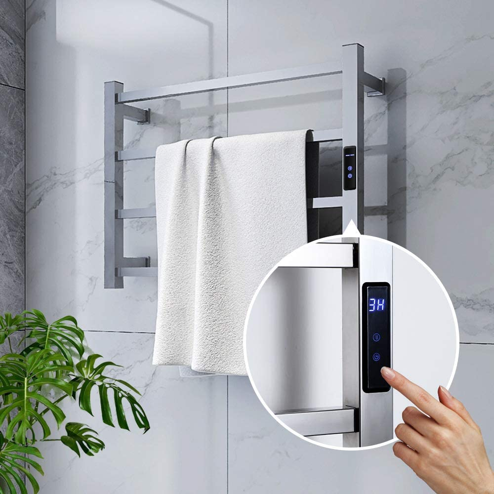 Electric Towel Warmer,Towel Heater with 4 Heated Bars,Heated Towel Racks for Bathroom with Timer and Temperature Adjustment,Wall-Mounted Towel Drying Rack Keep Your Towel Dryer Plug-in