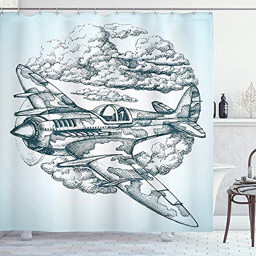 FANCYDAY Airplane Decor Collection, Vliegtuig in de lucht rond pictogram Vintage Plane in Mid-Air Militaire Cloud Luchtvaart Tekening Effect, Blauw