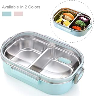 Bento Box Food Container Leakproof Food Grade Stainless Steel Double Insulated Asian Japanese Bento Box 700ML/24Oz by CHOEES (Ⅱ Blue)