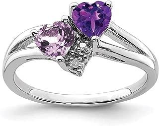 925 Sterling Silver Purple Amethyst Pink Quartz Diamond Band Ring S/love Gemstone Fine Jewelry For Women Gift Set