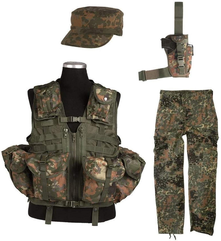 AOS-Outdoor SWAT Anzug BW Flecktarn Kostüm Hose + Weste Cap S-5XL B01FIHJED8 Zuverlässiger Ruf    Zuverlässige Leistung