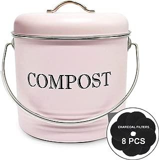 Jolitac Kitchen Compost Bin with 8 Bonus Charcoal Filters, Vintage Macaron Pink Countertop Recycling Bin 1.3 Gallon / 5 Liter, Compost Bucket with Lid for Indoor Scraps Keeper