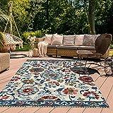 Jadorel - Alfombra exterior de 200 x 290 cm, rectangular, multicolor terraza, jardín, apta para calefacción por suelo radiante
