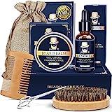 Beard Kit Gifts for Men - Beard Grooming Kit with Beard Oil, Beard Balm, Beard Brush, Beard Comb, Beard Scissors, Beard ebook, Birthday Gifts for Him Dad Husband Boyfriend