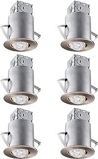 TORCHSTAR Recessed Lighting Kit: 3 Inch ETL-Listed Air Tight IC Housing +Satin Nickel Swivel Trim + LED Dimmable GU10 Bulb Daylight, Rotatable Spotlight, Retrofit Downlight Kit, Pack of 6