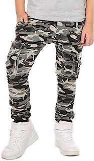 Dykmod Pantalones de camuflaje para niño con bolsillos