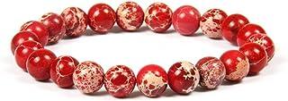 GD GOOD.designs EST. 2015 Bracciale Chakra Perle di Diaspro - Pietra Marina Naturale 8 o 10mm Unisex (Rosso 8mm)