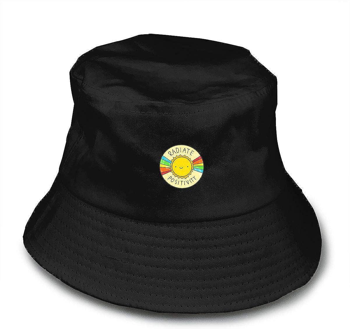 No branded Radiate Positivity Chapeau de p/êcheur unisexe 100 /% coton Noir