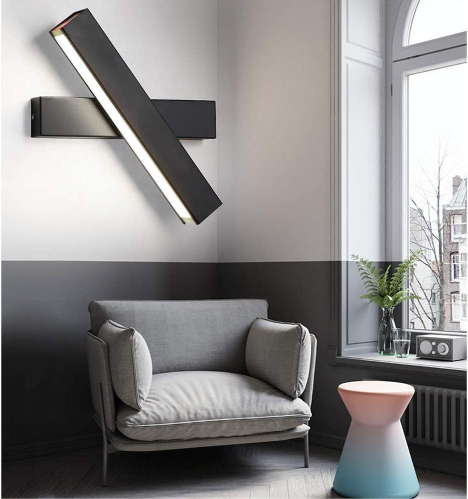 Wandleuchte LED Innen Wandlampe Innen Kühles Warmweiß 6000K Modern 12W Wandbeleuchtung Eisen Wandlicht fast 360° Drehbare Eisen Wandlicht Wandleuchten für Schlafzimmer,Badezimmer,Wohnzimmer (Schwarz) Schwarz