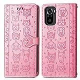 JIUNINE Funda para Xiaomi Redmi Note 10 4G, Antigolpes Carcasa Libro con Tapa en Cuero Flip Case Cover con Patrón de Perro y Gato Cierre Magnético, Cartera y Soporte para Redmi Note 10, Rosado