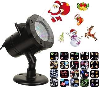 Tcamp 20 Slide Christmas Projector Lights, LED Christmas Snowflake Projector Lights, Upgraded 20 Slides Moving Patterns LED Landscape Spotlight, Waterproof Xmas Christmas Lights Outdoor Indoor