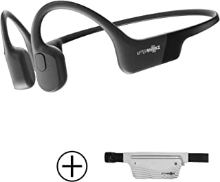 Aftershokz Aeropexオープンイヤーワイヤレス骨伝導ヘッドフォン、スポーツベルト、コスミックブラック (並行輸入品)