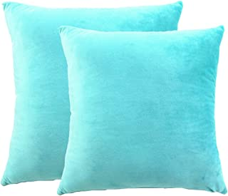 sykting Super Soft Soild Decorative Square Throw Pillow Covers Set Cushion Case for Sofa Bedroom Car 18 X 18 Inch Pack of 2 Short Plush Turquoise