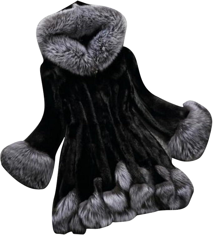 XQS Womens Elegant Fox Faux Fur Hooded Mid Long Parka Outwear