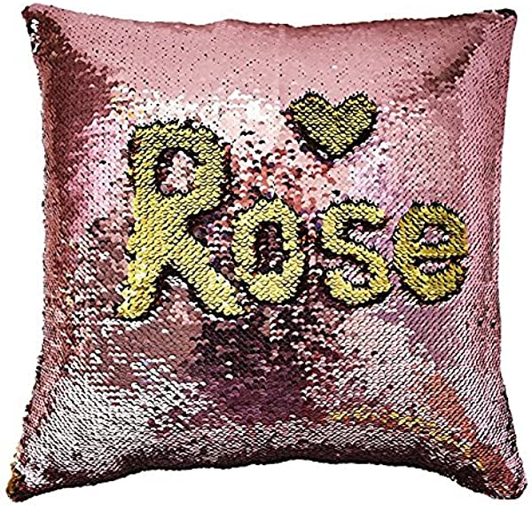MOCOFO Glitter Pillow Reversible Sequins Pillow Cover Magic Mermaid Fish Pillowcase Parkly Fun Flip Sequins Throw Pillow Cover Pink Gold Couch Cute Color Changing Decor Cushion Covers For Sofa16X16