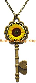 Collar con llave, colgante de girasol, collar con llaves de girasol amarillo, joyería de girasol, joyería de primavera, idea de regalo de flores amarillas para amigos, familia-RC182, B, 20mm*20mm