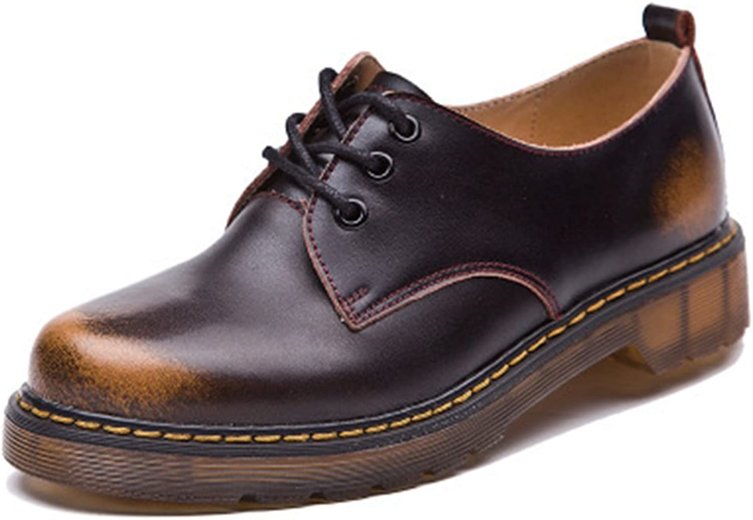 Bininbox Women's Mixed color lace-up Oxford shoes
