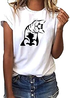 ?COOlCCI?Women's Summer Street Style Cute Cat Printed Tops T Shirt Short Sleeve Tees Blouse T Shirt Junior