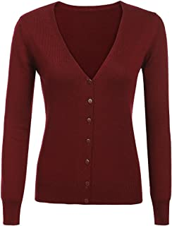 Qearal Women Cashmere V-Neck Button Down Long Sleeve Knit Cardigan Sweater