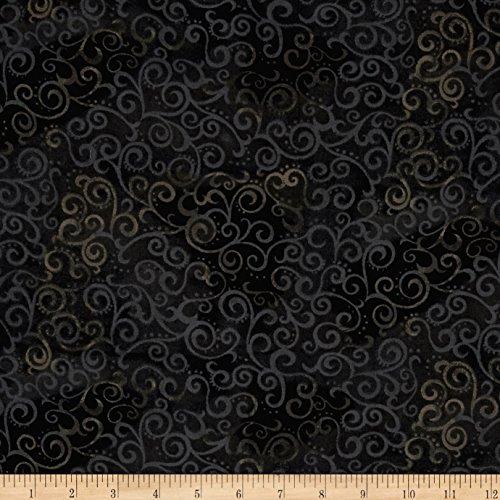 "QT Fabrics 108"" Wide Quilt Back Ombre Scroll, Yard, Black"