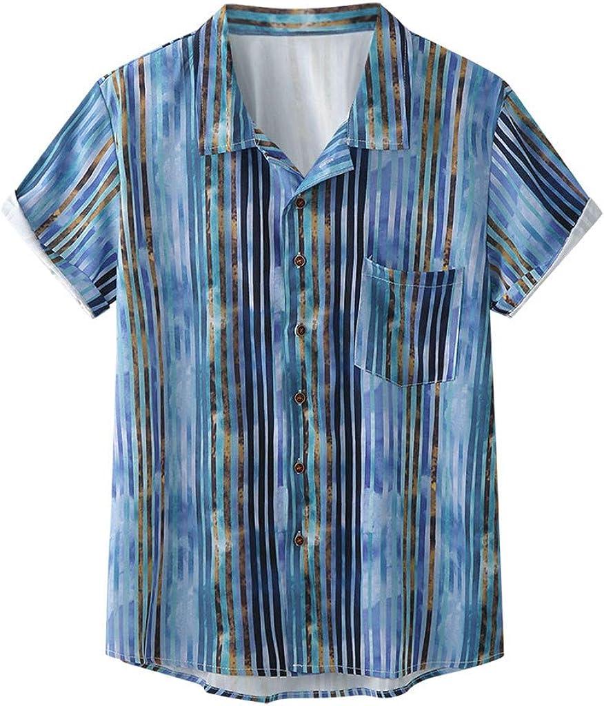 Landscap Men's Plaid Shirt Button Down T-Shirt Summer Loose Short Sleeve Regular-Fit Top Pattern Shirt Comfortable Shirt