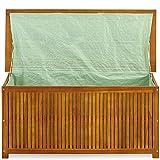 Auflagenbox Holz | Akazie | XXL 117cm | mit Innenplane | vorgeölt | Holztruhe Holz Kissenbox Gartenbox Gartentruhe Truhe - 6