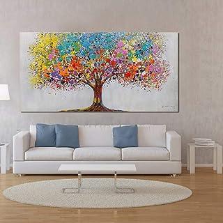 XIANRENGE Peinture À l'huile Peinte À La Main sur Toile,Grand Arbre coloré Peinture Tableau Abstrait Moderne Wall Art Pop ...