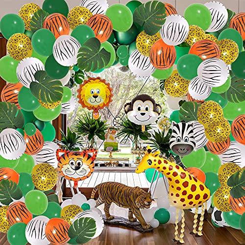 147 - Decoración para cumpleaños de la jungla, guirnalda de globos, decoración de cumpleaños para niños, Safari, hojas de palma, walking jirafa, globo de aluminio de animales (estilo 2)