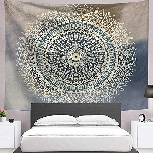 KHKJ Psychedelic Moon Starry Big Tapiz Flor Colgante de Pared Habitación Cielo Alfombra Dormitorio Tapices Arte Decoración del hogar Accesorios A20 200x150cm
