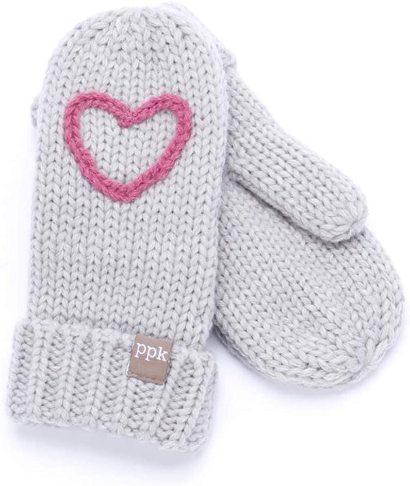 Kids warm fleece lined Mittens - Heather Grey with heart decoration