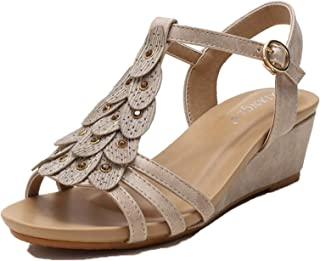 Vrouwen Open Teen Retro Sleehak T-strap Sandalen Dames Mode Bohemen Zomer Casual Vintage Schoenen