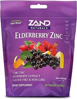 Zand HerbaLozenge Elderberry Zinc | Good-for-You Lozenges for Dry Throats | No Corn Syrup, No Cane Sugar, No Colors | 80 L...